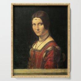 Leonardo da Vinci - Ritratto di donna, dice La Belle Ferronnière Serving Tray