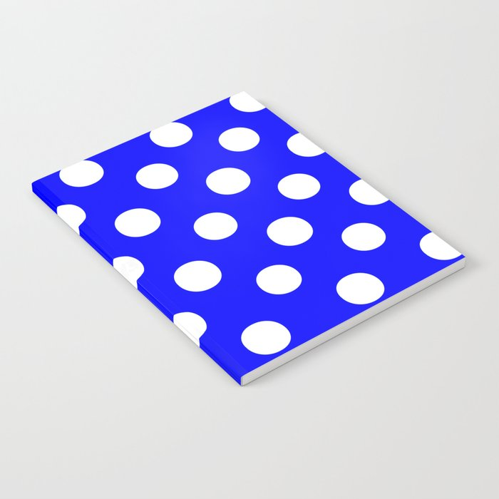 Polka Dots (White/Blue) Notebook