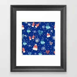 Winter Pattern Mittens Mugs Hearts Snow Flakes Framed Art Print