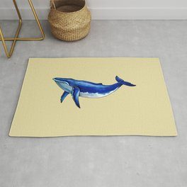 Blue Whale Watercolor Rug