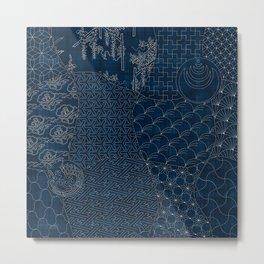Sashiko - random sampler Metal Print