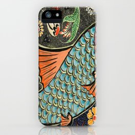 bohemian folk art orange aqua blue japanese good luck koi fish iPhone Case