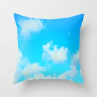 clouds Throw Pillows featuring Clouds by 2sweet4words Designs