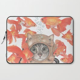 Scuba Cat Among the Fishes Laptop Sleeve