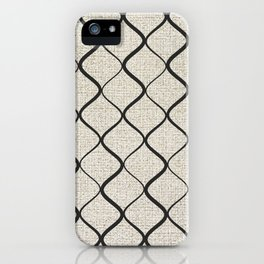 Black Bege Modern Lines Pattern iPhone Case