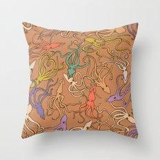 Squids of the inky ocean - retro colorway Throw Pillow