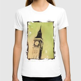Watercolor painting of Big Ben rising above buildings near Trafalgar Square at dawn- London, England T-shirt
