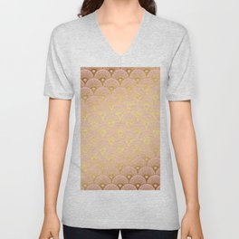 Gold and pink sparkling Mermaid pattern Unisex V-Neck
