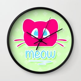 Pink cat head with blue eyes. Meow =) Wall Clock