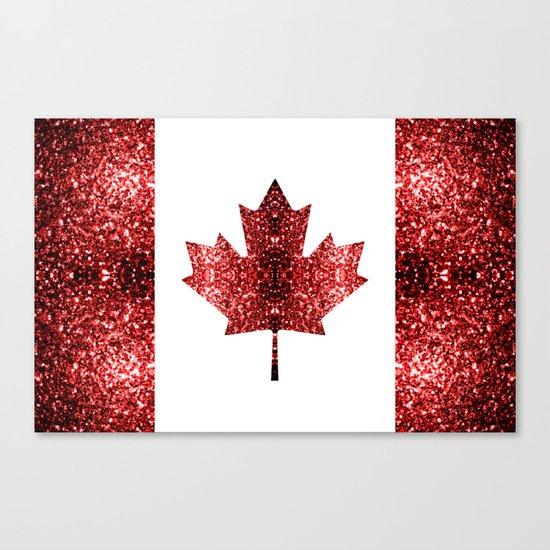 Canada flag red sparkles Canvas Print