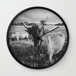 Black and White Highland Cow - Moo Wall Clock