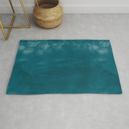 Burst of Color Tropical Dark Teal Inspired by Sherwin Williams 2020 Trending Color Oceanside SW6496 Abstract Watercolor Blend Rug