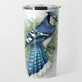 Blue Jay In Watercolor Travel Mug