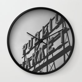Seattle Pike Place Public Market Black and White Wall Clock