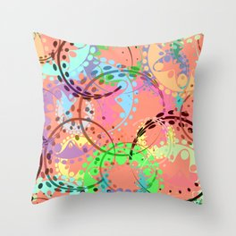 Texture of pastel gears and laurel wreaths in kaleidoscopic pink style. Throw Pillow