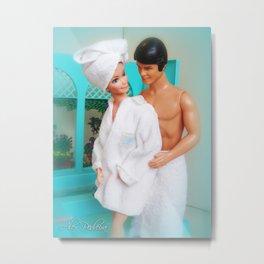 Barbie and Ken in the bathroom.  06 Metal Print