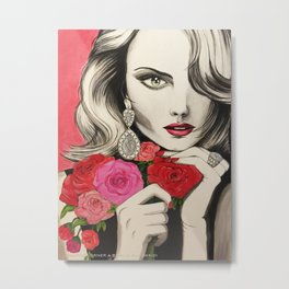 Girl with Roses Metal Print