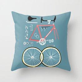 Bike Bits Throw Pillow