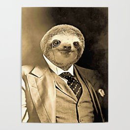 Gentleman Sloth with Monocle Poster