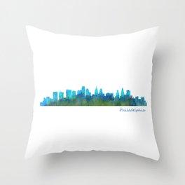 Philadelphia City Skyline Hq V1a Throw Pillow
