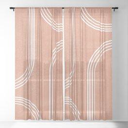 Mid Century Modern 2 - Geometrical Abstract - Minimal Print - Terracotta Abstract - Burnt Sienna Sheer Curtain