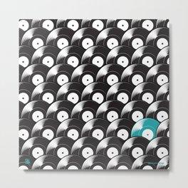 Hypnotised by Vinyl (Blue) Metal Print