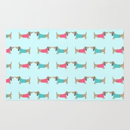 Cute dog lovers in mint background Rug