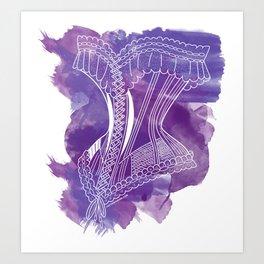 French Corset on Purple Art Print