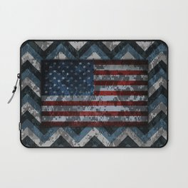 Blue Military Digital Camo Pattern with American Flag Laptop Sleeve