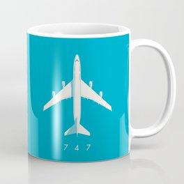 747-400 Jumbo Jet Airliner Aircraft - Cyan Coffee Mug