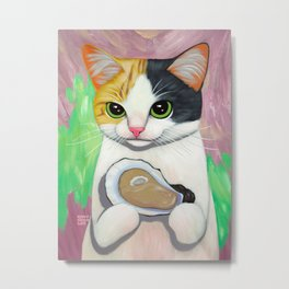KITTY LOVES OYSTER Metal Print