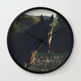 Wild stallion photo, black horse and italian sunset, original print for animal lovers, landscape Wall Clock