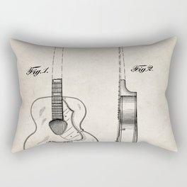 Accoustic Guitar Patent - Classical Guitar Art - Antique Rectangular Pillow
