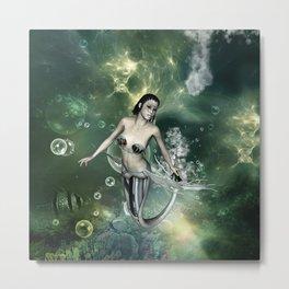 Awesome fantasy mermaid in the deep ocean Metal Print