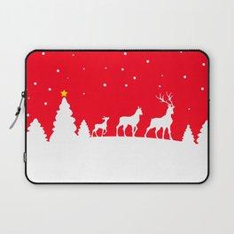 deer family in winter landscape Laptop Sleeve