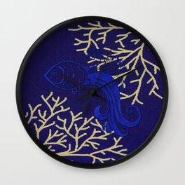 V4 Fish in Sea Moroccan Texture Design. Wall Clock
