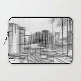 pencil drawing buildings in the city in black and white Laptop Sleeve