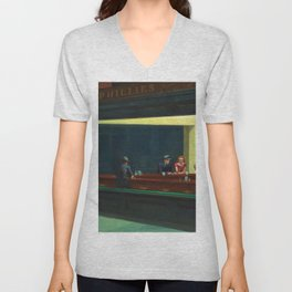 Portrait version NIGHTHAWKS downtown diner late at night iconic cityscape painting by Edward Hopper Unisex V-Neck