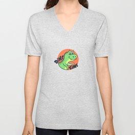 Funny cartoon dinosaur dino time quote Unisex V-Neck