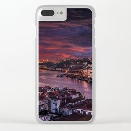 Porto Night Skyline Clear iPhone Case
