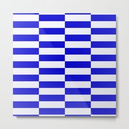 Blue And White Rectangular Checkered Pattern Metal Print