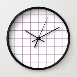 Graph Paper (Purple & White Pattern) Wall Clock