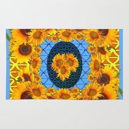 DECORATIVE  BABY BLUE ART & YELLOW SUNFLOWERS Rug