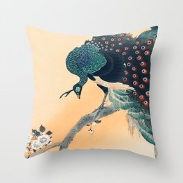 Peacock Traditional Japanese Wildlife Throw Pillow