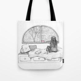 Rainy Day Window pencil illustration Tote Bag