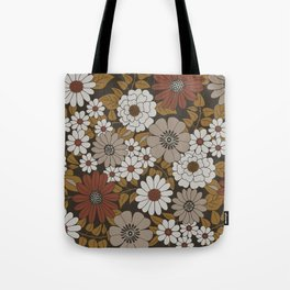 Brown, Orange, and Ivory Retro Flower Pattern Tote Bag