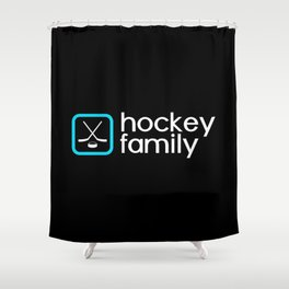 Hockey Family (Blue) Shower Curtain