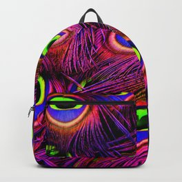 Beautiful Iridescent Purple Peacock Feathers Pattern Backpack