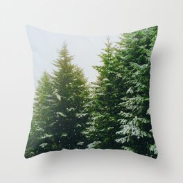 Winter Pine Tree Forest (Color) Throw Pillow