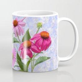 Echinacea Bouquet on Blue Coffee Mug